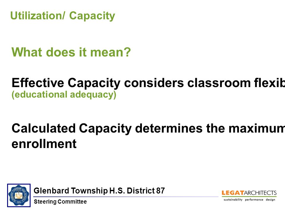 Glenbard Township H.S. District 87 Steering Committee Utilization/ Capacity What does it mean.