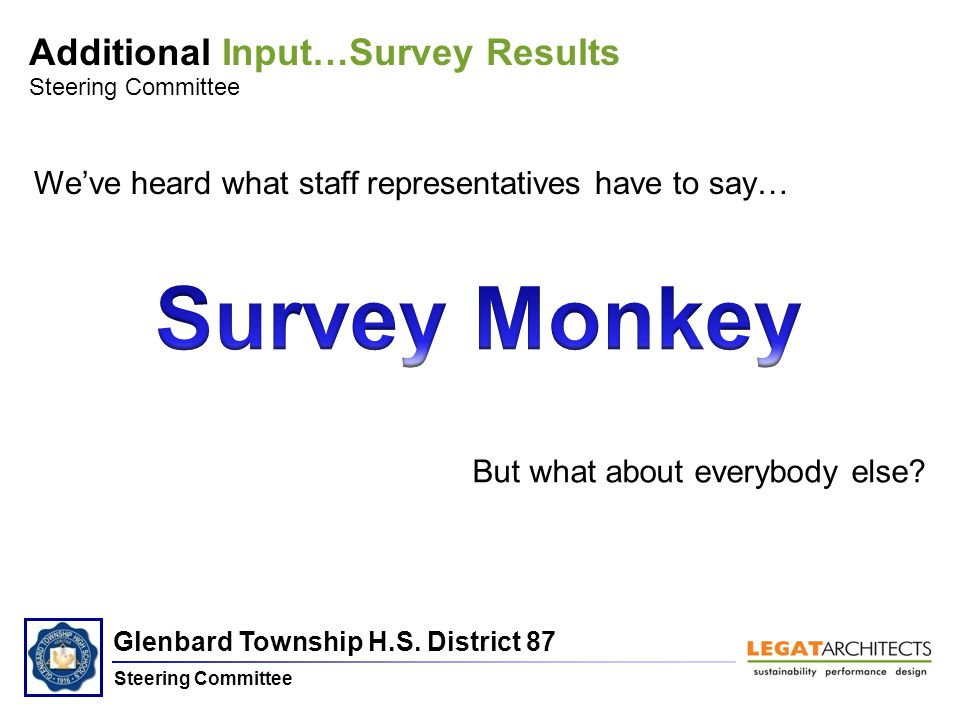 Glenbard Township H.S. District 87 Steering Committee Additional Input…Survey Results Steering Committee We've heard what staff representatives have t