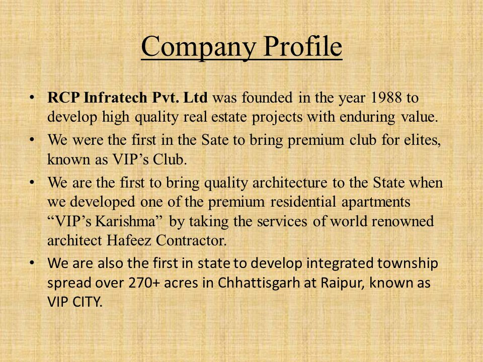 Company Profile RCP Infratech Pvt.