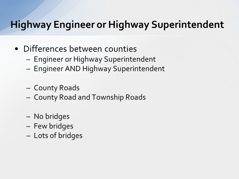 Public knows us for: –Blading roads –Removing snow –Repairing bridges –Putting up road signs Public gets confused about: –State Roads –County Roads –Township Roads What do we do?