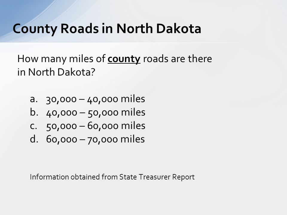How many miles of county roads are there in North Dakota.