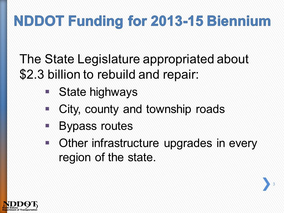 The State Legislature appropriated about $2.3 billion to rebuild and repair:  State highways  City, county and township roads  Bypass routes  Other infrastructure upgrades in every region of the state.