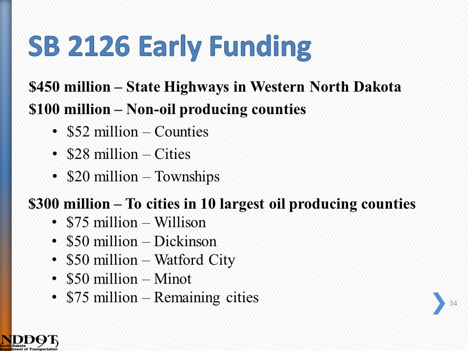 $450 million – State Highways in Western North Dakota $100 million – Non-oil producing counties $52 million – Counties $28 million – Cities $20 million – Townships $300 million – To cities in 10 largest oil producing counties $75 million – Willison $50 million – Dickinson $50 million – Watford City $50 million – Minot $75 million – Remaining cities 34