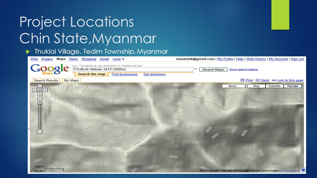 Project Locations Chin State,Myanmar  Thuklai Village, Tedim Township, Myanmar