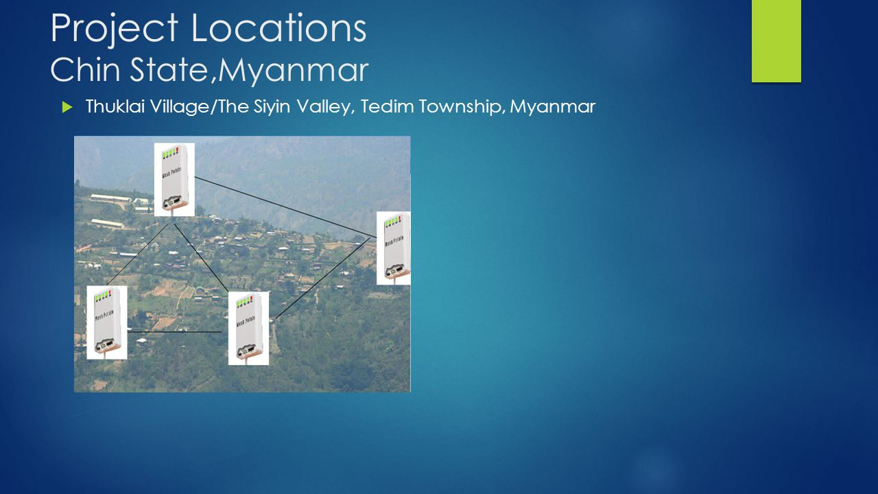 Project Locations Chin State,Myanmar  Thuklai Village/The Siyin Valley, Tedim Township, Myanmar
