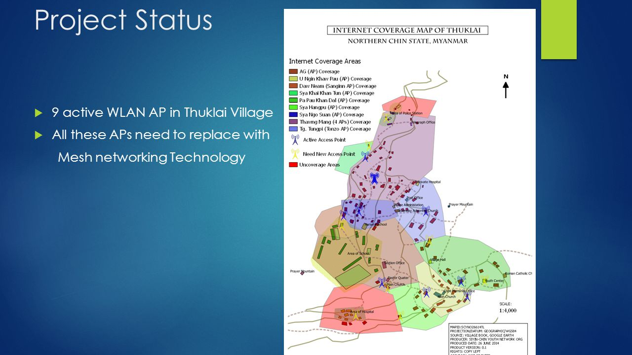 Project Status  9 active WLAN AP in Thuklai Village  All these APs need to replace with Mesh networking Technology