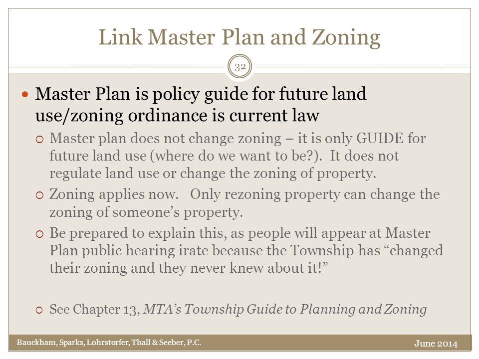 Link Master Plan and Zoning Bauckham, Sparks, Lohrstorfer, Thall & Seeber, P.C.