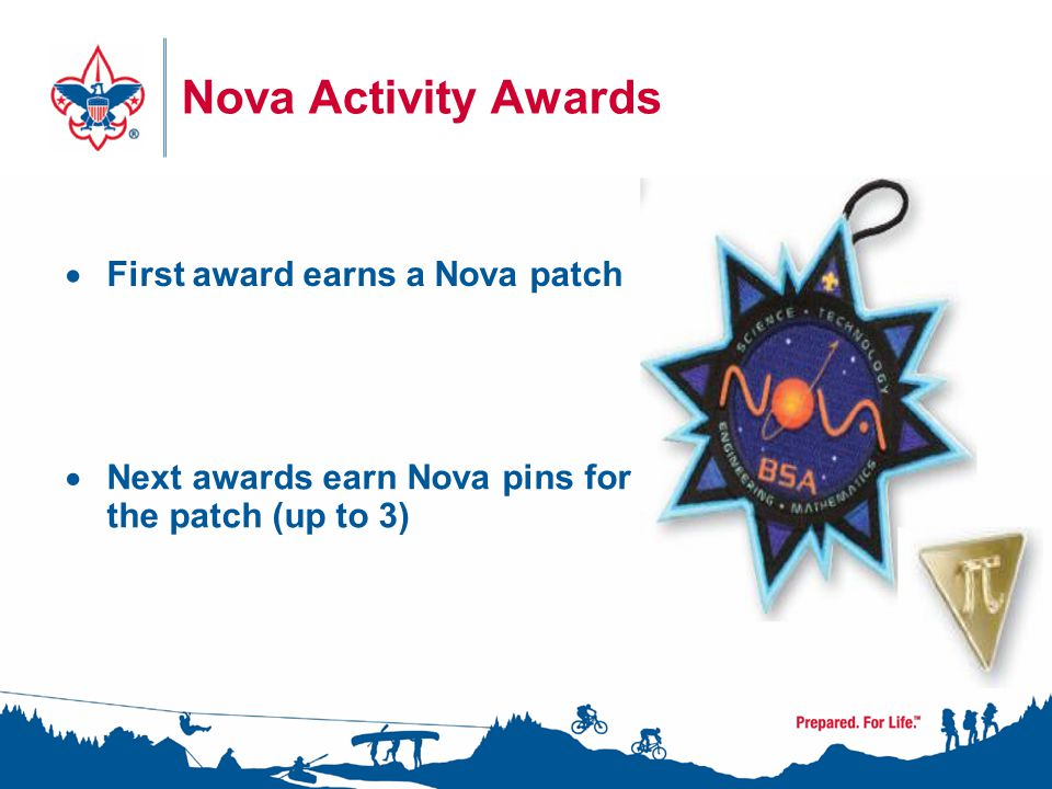 16 Nova Activity Awards  First award earns a Nova patch  Next awards earn Nova pins for the patch (up to 3) 16