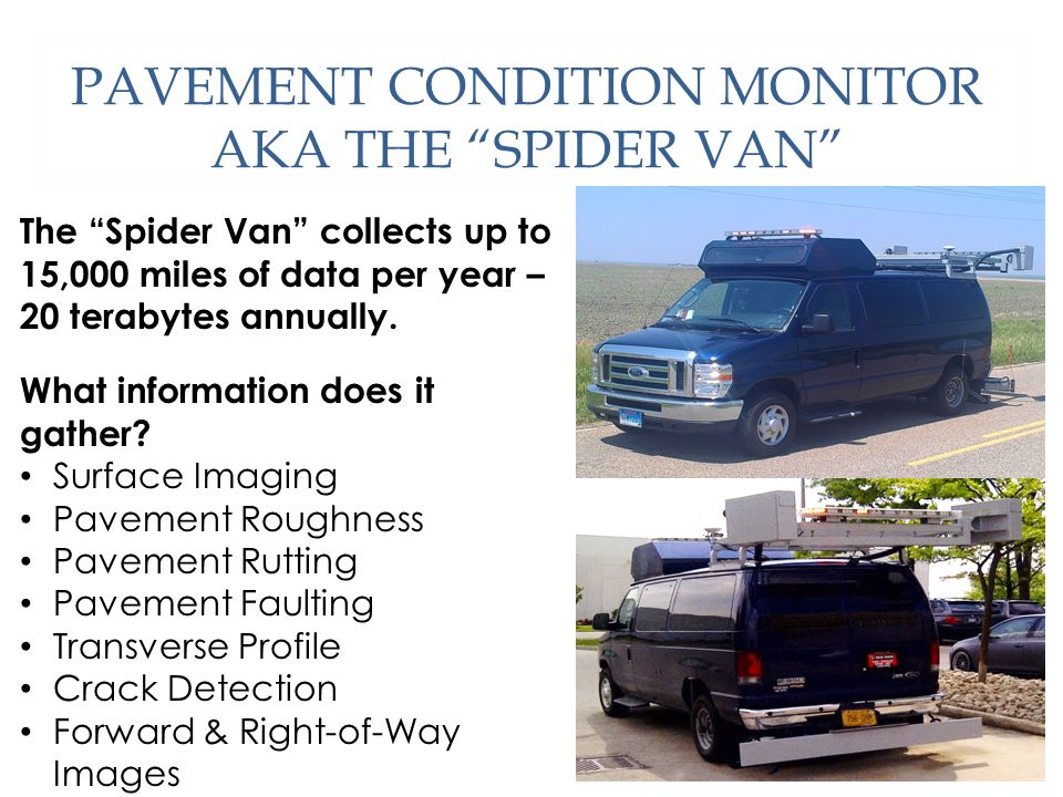 PAVEMENT CONDITION MONITOR AKA THE SPIDER VAN The Spider Van collects up to 15,000 miles of data per year – 20 terabytes annually.