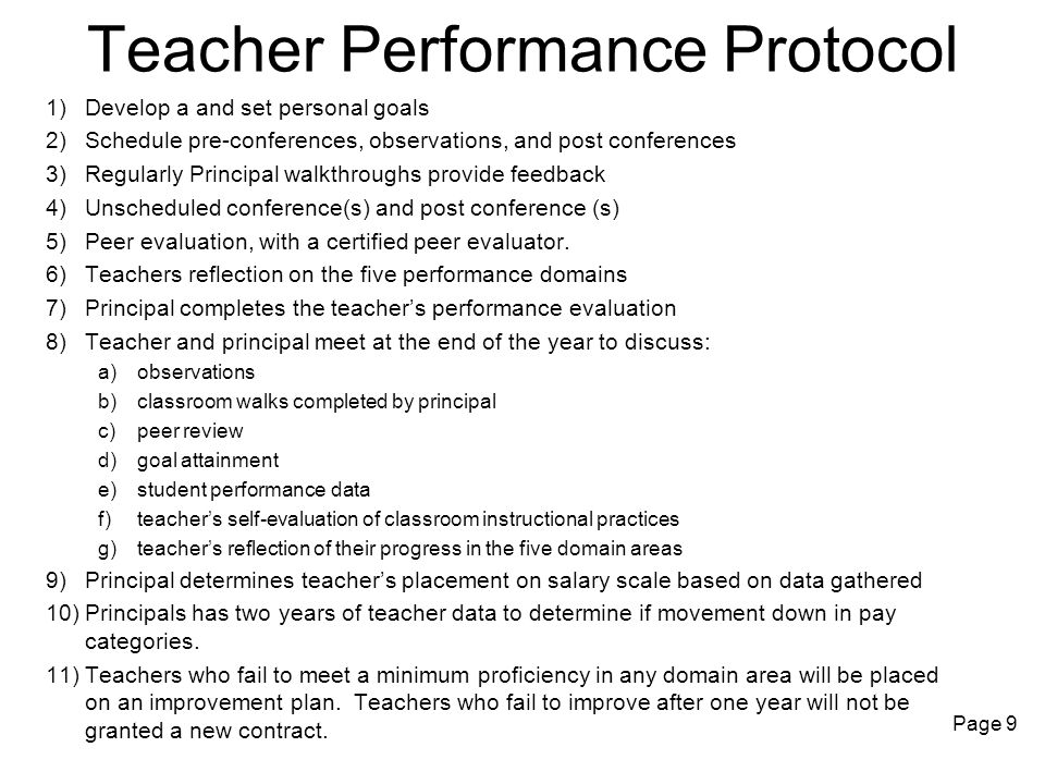 Teacher Performance Protocol 1)Develop a and set personal goals 2)Schedule pre-conferences, observations, and post conferences 3)Regularly Principal w