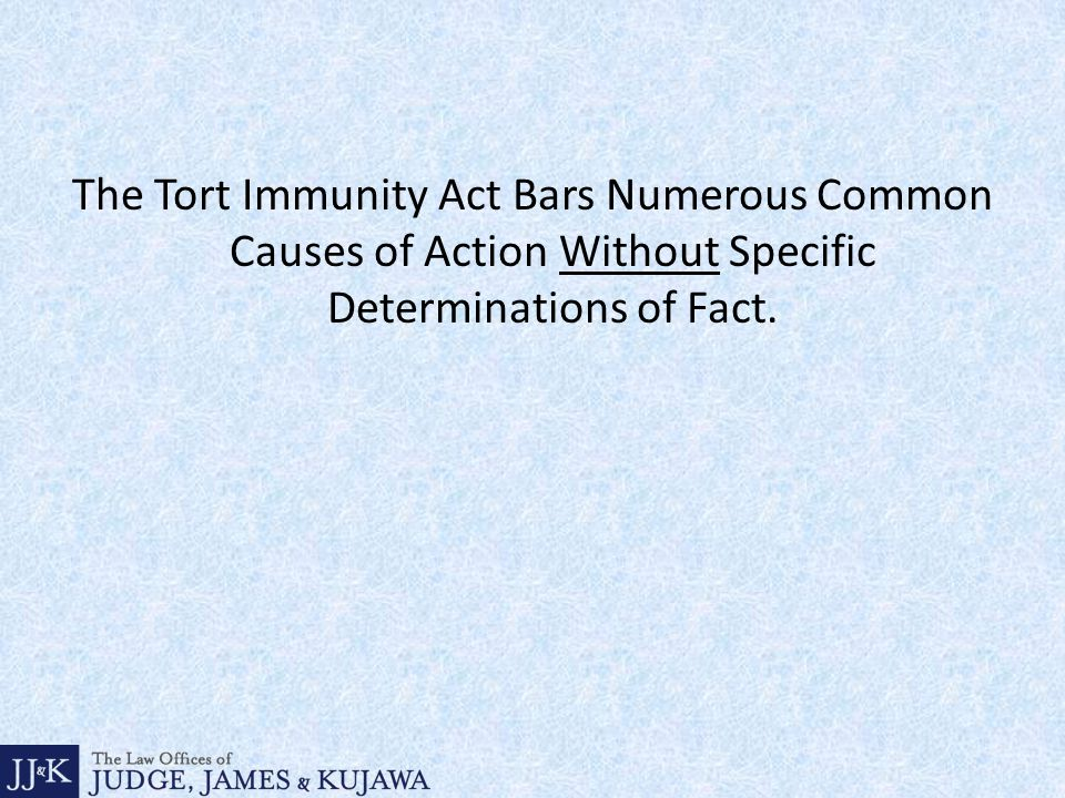 The Tort Immunity Act Bars Numerous Common Causes of Action Without Specific Determinations of Fact.