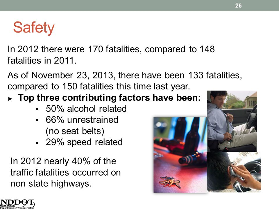 Safety In 2012 there were 170 fatalities, compared to 148 fatalities in 2011.