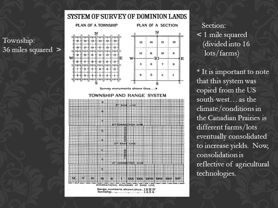 Township: 36 miles squared > Section: < 1 mile squared (divided into 16 lots/farms) * It is important to note that this system was copied from the US