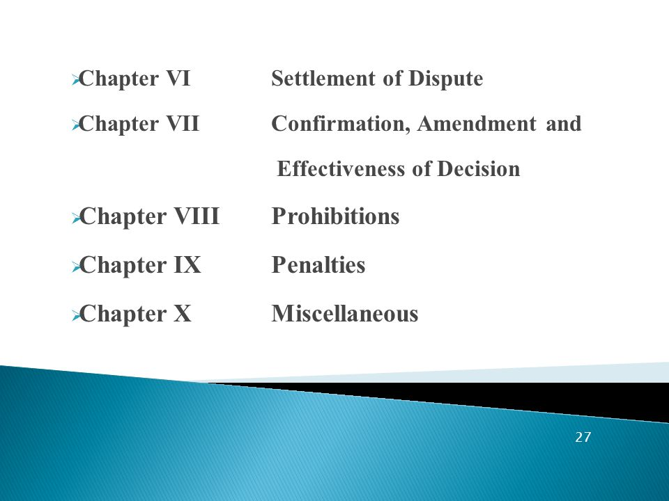  Chapter VI Settlement of Dispute  Chapter VII Confirmation, Amendment and Effectiveness of Decision  Chapter VIIIProhibitions  Chapter IX Penalties  Chapter XMiscellaneous 27