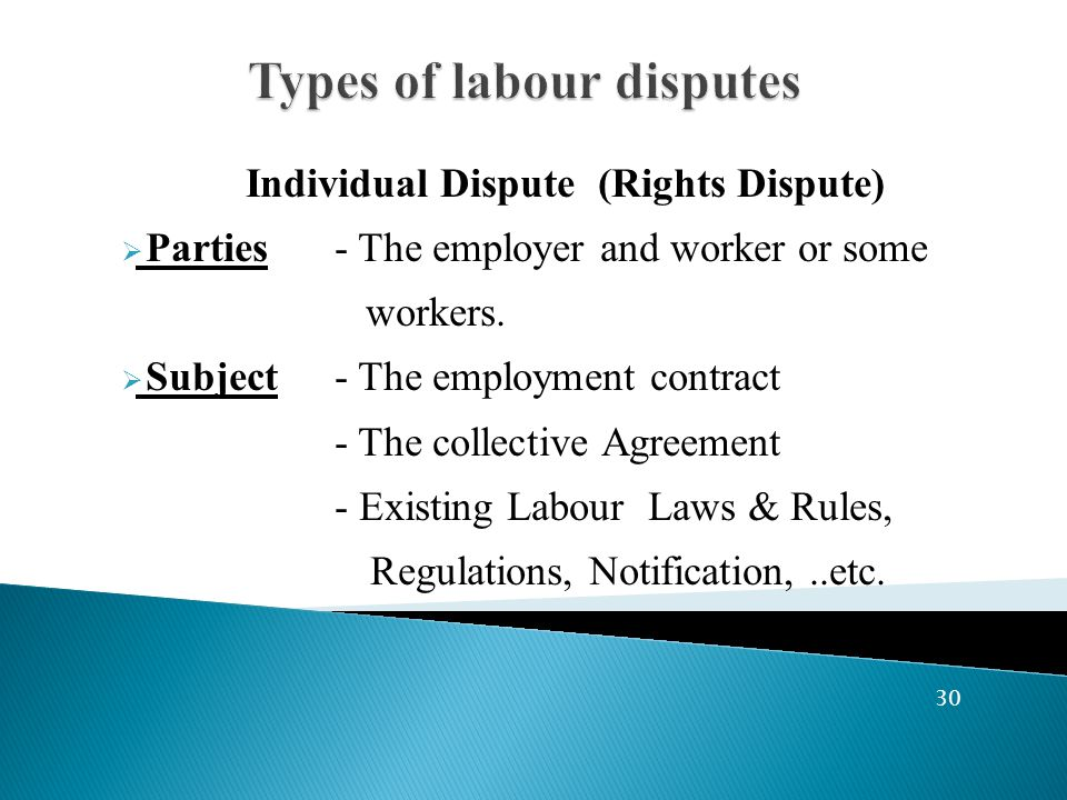 Individual Dispute (Rights Dispute)  Parties- The employer and worker or some workers.