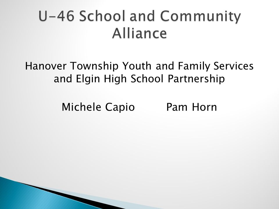 Hanover Township Youth and Family Services and Elgin High School Partnership Michele Capio Pam Horn