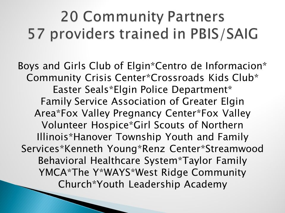 Boys and Girls Club of Elgin*Centro de Informacion* Community Crisis Center*Crossroads Kids Club* Easter Seals*Elgin Police Department* Family Service