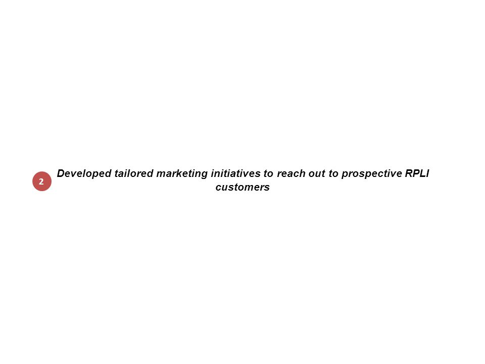Developed tailored marketing initiatives to reach out to prospective RPLI customers 2