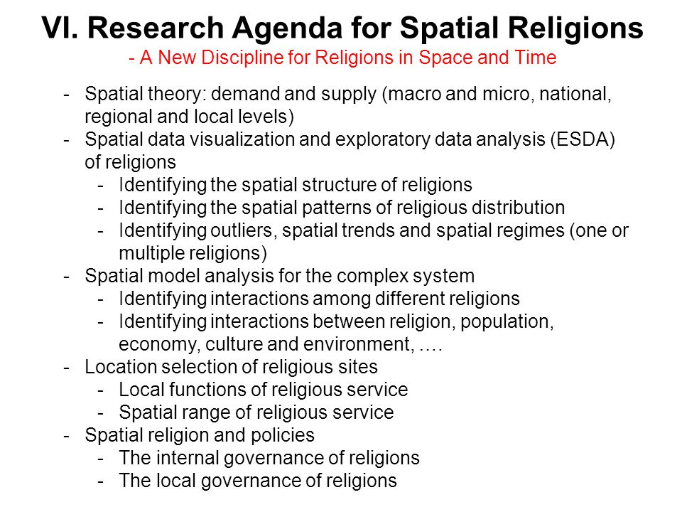 VI. Research Agenda for Spatial Religions - A New Discipline for Religions in Space and Time -Spatial theory: demand and supply (macro and micro, nati