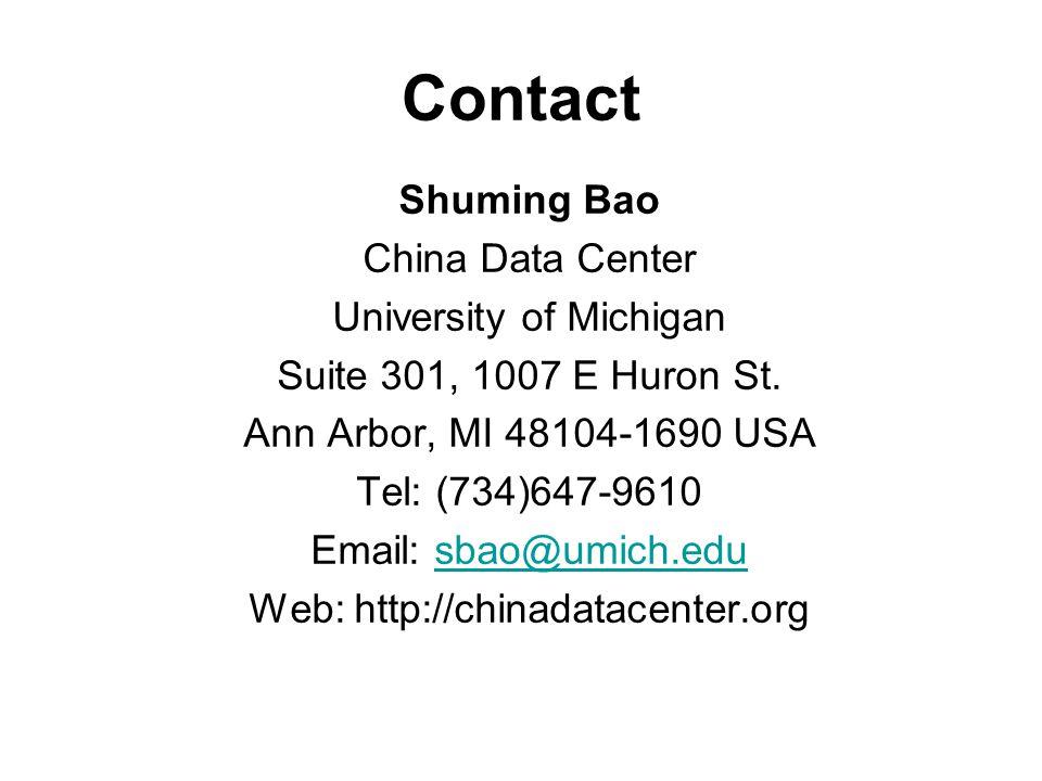 Contact Shuming Bao China Data Center University of Michigan Suite 301, 1007 E Huron St. Ann Arbor, MI 48104-1690 USA Tel: (734)647-9610 Email: sbao@u