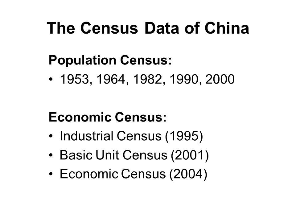 The Census Data of China Population Census: 1953, 1964, 1982, 1990, 2000 Economic Census: Industrial Census (1995) Basic Unit Census (2001) Economic Census (2004)