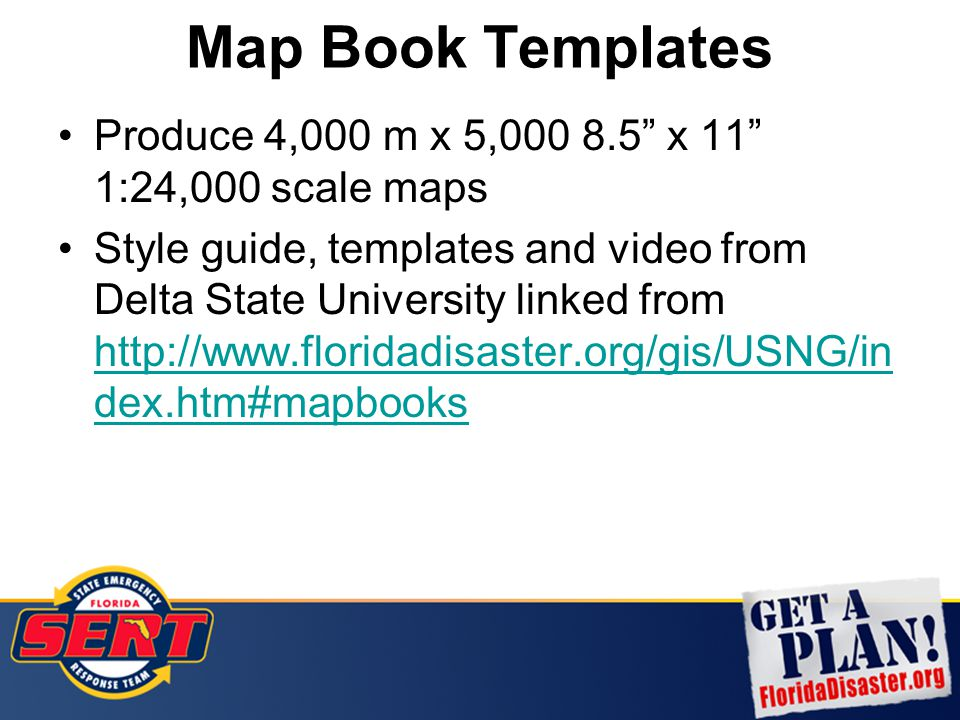 "Map Book Templates Produce 4,000 m x 5,000 8.5"" x 11"" 1:24,000 scale maps Style guide, templates and video from Delta State University linked from htt"
