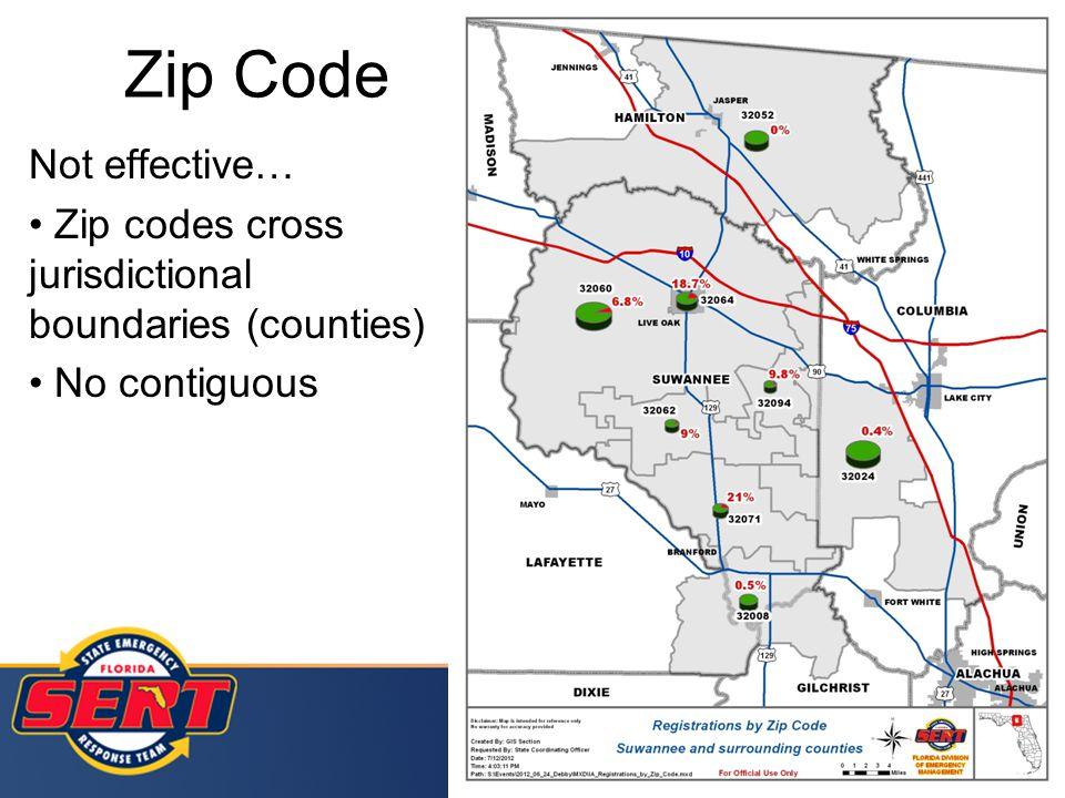 Zip Code Not effective… Zip codes cross jurisdictional boundaries (counties) No contiguous