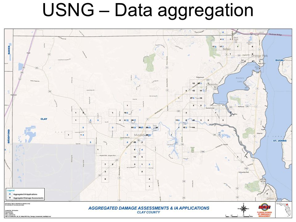 Map of Clay county damage assessments and IA applications USNG – Data aggregation