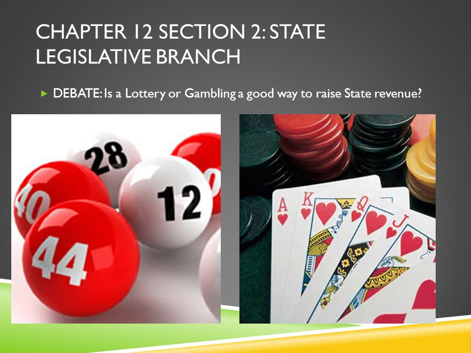 CHAPTER 12 SECTION 2: STATE LEGISLATIVE BRANCH  DEBATE: Is a Lottery or Gambling a good way to raise State revenue?