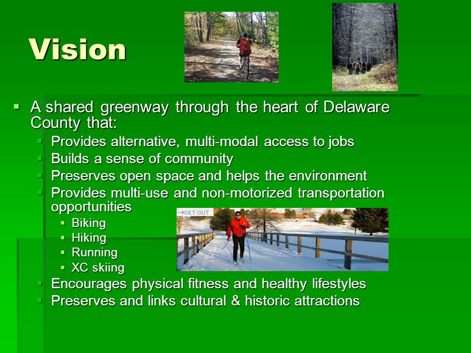 Community Support  Octoraro Trail is in the Delaware County Bike Plan & Township Master Plans  But it won't happen without your support  We would appreciate your support for our feasibility study funding application