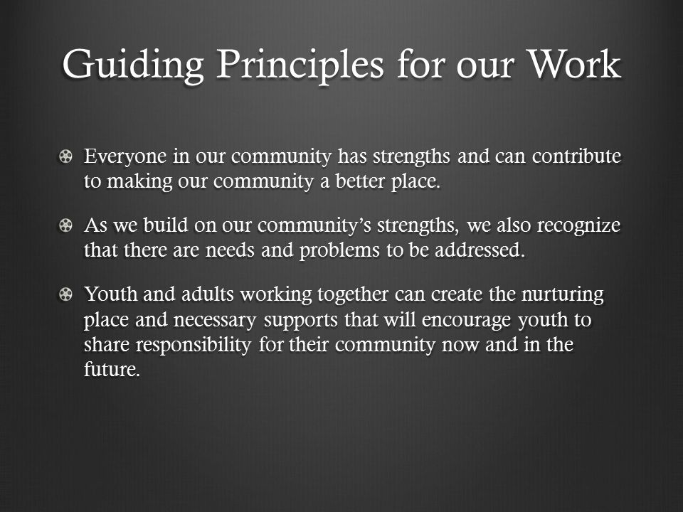 Guiding Principles for our Work Everyone in our community has strengths and can contribute to making our community a better place.