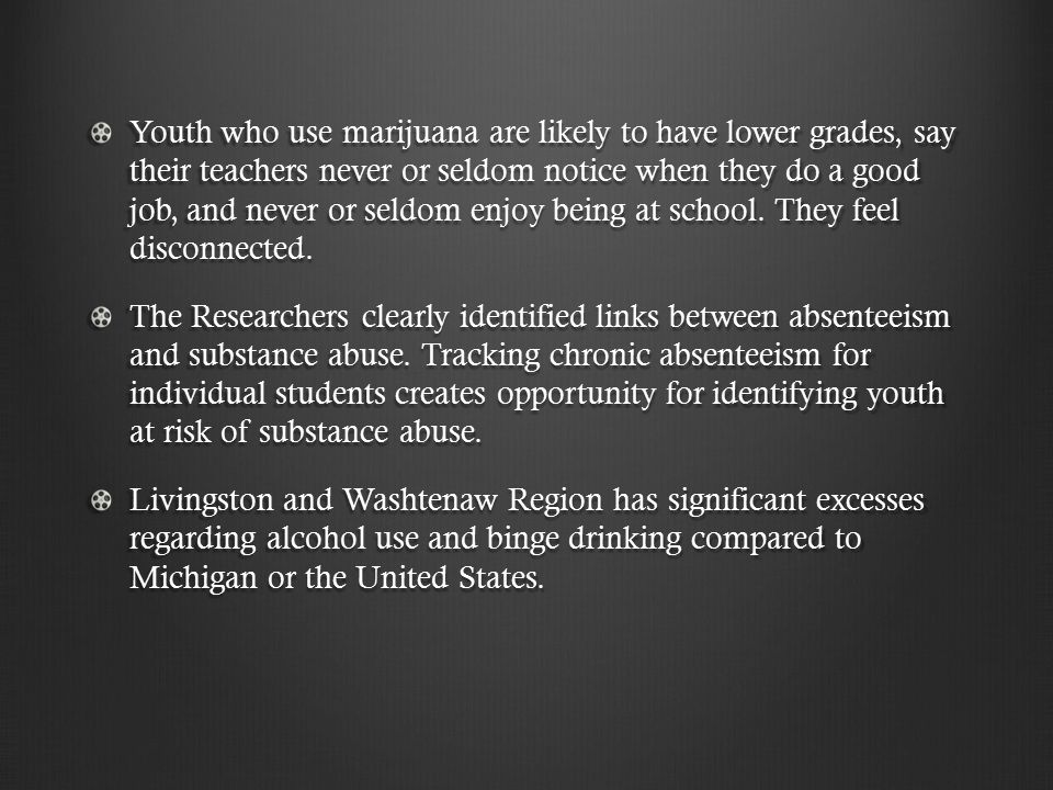 Youth who use marijuana are likely to have lower grades, say their teachers never or seldom notice when they do a good job, and never or seldom enjoy being at school.