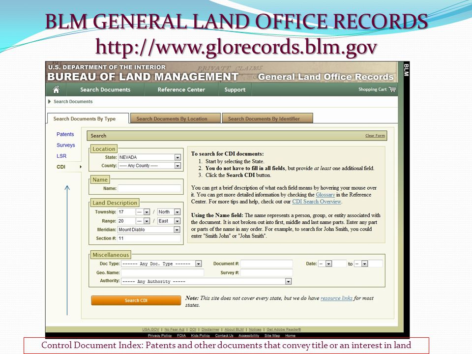 Control Document Index: Patents and other documents that convey title or an interest in land