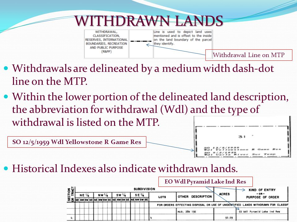 WITHDRAWN LANDS Withdrawals are delineated by a medium width dash-dot line on the MTP. Within the lower portion of the delineated land description, th