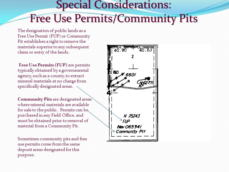 Special Considerations: Free Use Permits/Community Pits The designation of public lands as a Free Use Permit (FUP) or Community Pit establishes a righ