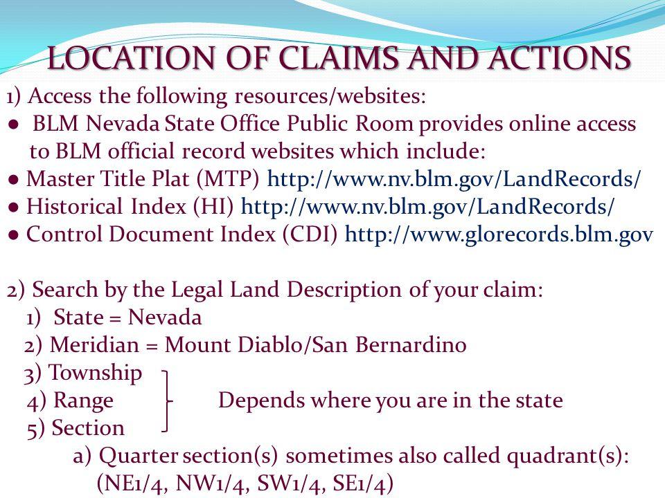 BLM Nevada Land Records http://www.nv.blm.gov/LandRecords
