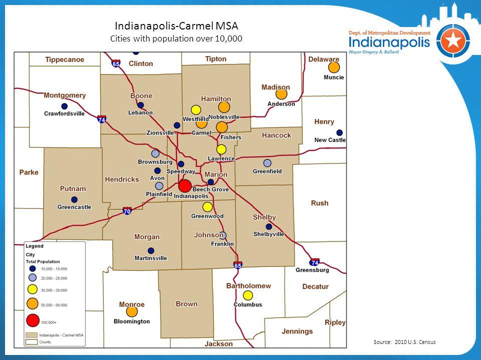 Indianapolis-Carmel MSA Population Density Change by Township: 1950-2010 Source: 1950 & 2010 U.S.