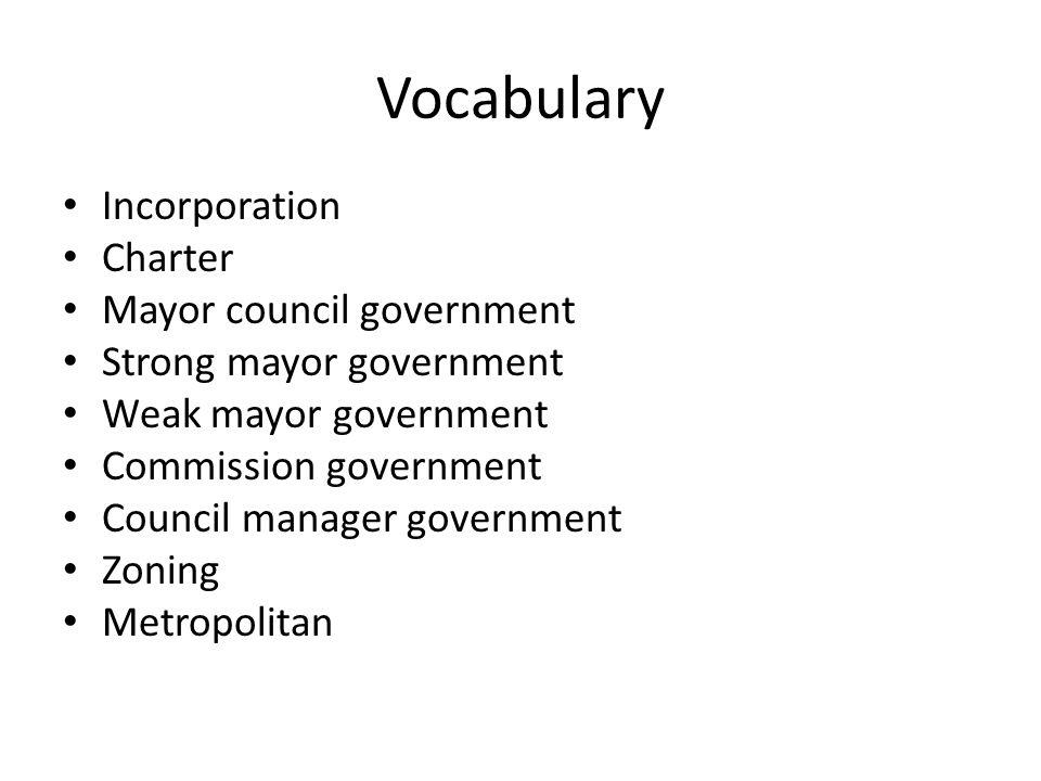 Vocabulary Incorporation Charter Mayor council government Strong mayor government Weak mayor government Commission government Council manager governme