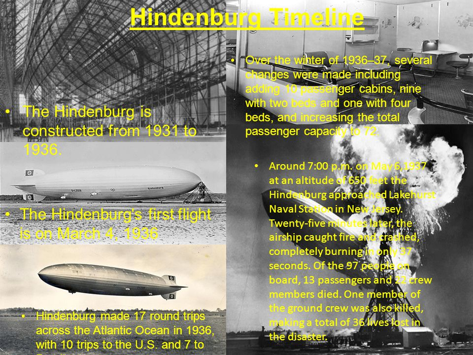 Hindenburg Timeline The Hindenburg is constructed from 1931 to 1936. The Hindenburg's first flight is on March 4, 1936 Hindenburg made 17 round trips
