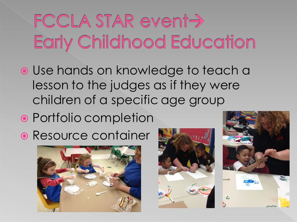  FCCLA State and STAR events  STAR= Students Taking Action with Recognition, 1 st place qualifies for National Meeting  Utilize planning process summary  Implement project ideas by making display boards and portfolios