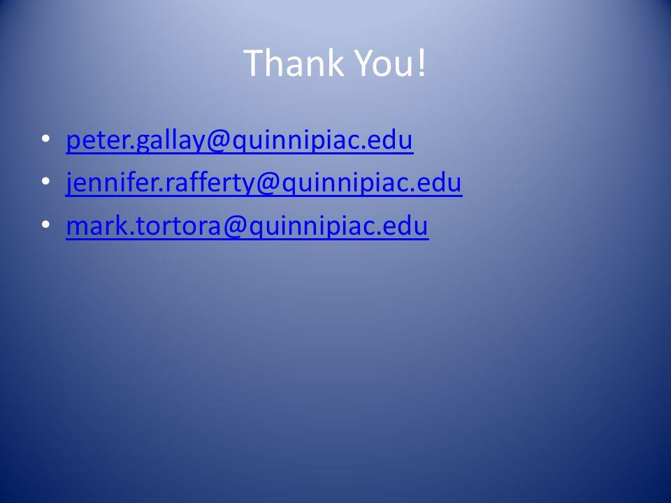 Thank You! peter.gallay@quinnipiac.edu jennifer.rafferty@quinnipiac.edu mark.tortora@quinnipiac.edu