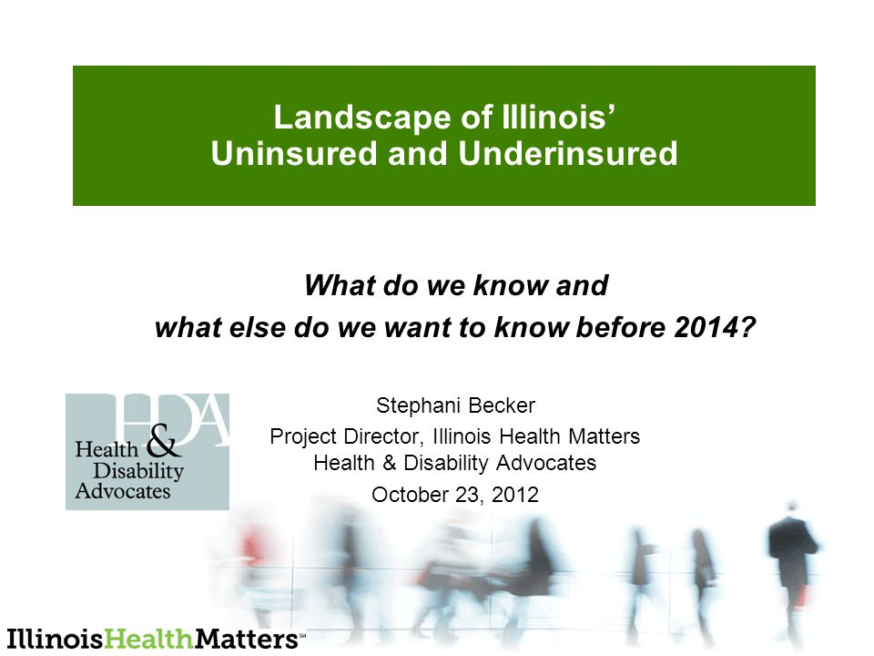 Landscape of Illinois' Uninsured and Underinsured What do we know and what else do we want to know before 2014.