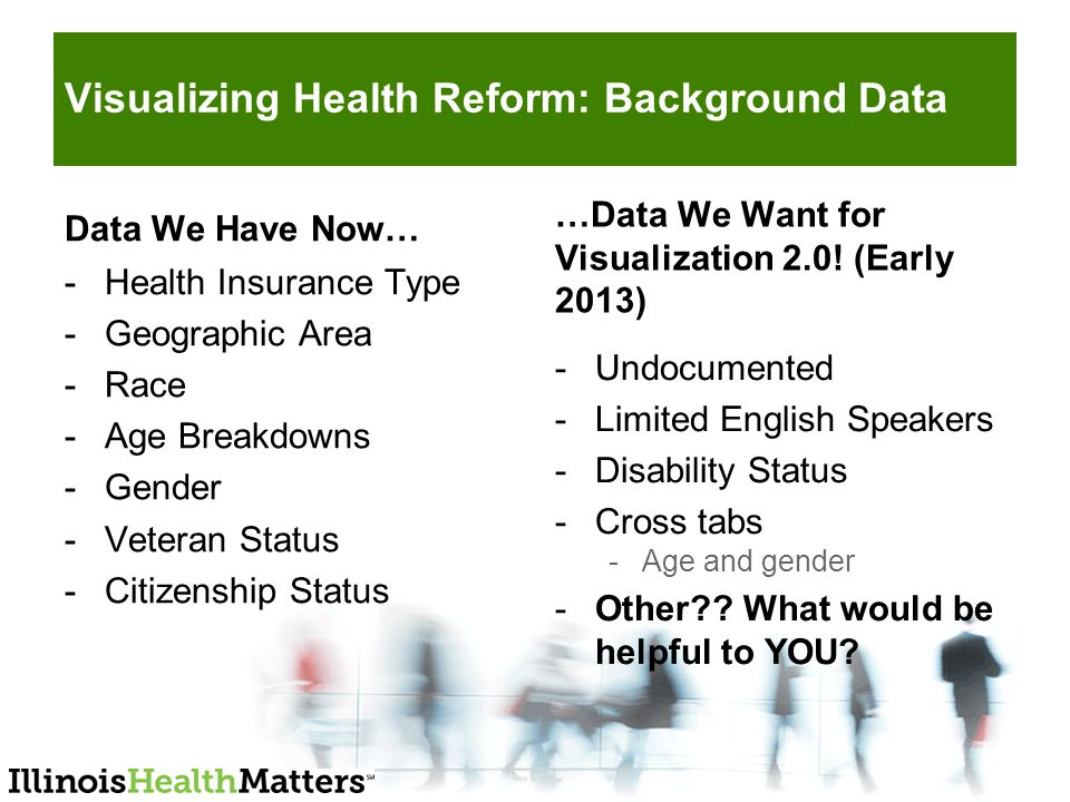 Visualizing Health Reform: Background Data Data We Have Now… -Health Insurance Type -Geographic Area -Race -Age Breakdowns -Gender -Veteran Status -Citizenship Status …Data We Want for Visualization 2.0.