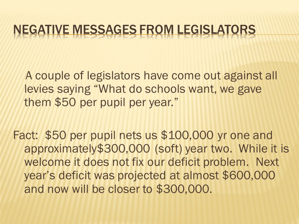 "A couple of legislators have come out against all levies saying ""What do schools want, we gave them $50 per pupil per year."" Fact: $50 per pupil nets"