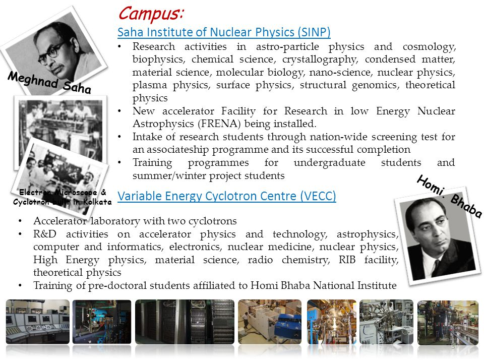 Campus: Saha Institute of Nuclear Physics (SINP) Research activities in astro-particle physics and cosmology, biophysics, chemical science, crystallography, condensed matter, material science, molecular biology, nano-science, nuclear physics, plasma physics, surface physics, structural genomics, theoretical physics New accelerator Facility for Research in low Energy Nuclear Astrophysics (FRENA) being installed.