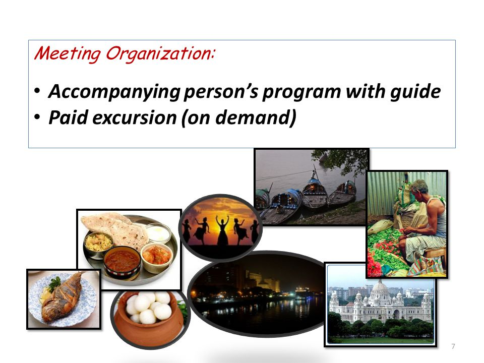 Meeting Organization: Accompanying person's program with guide Paid excursion (on demand) 7