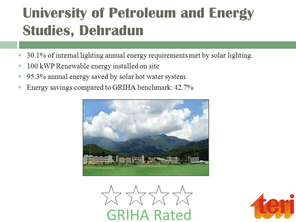 University of Petroleum and Energy Studies, Dehradun 30.1% of internal lighting annual energy requirements met by solar lighting.