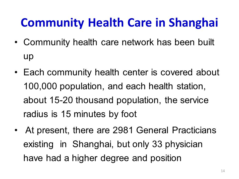 Community Health Care in Shanghai Community health care network has been built up Each community health center is covered about 100,000 population, and each health station, about 15-20 thousand population, the service radius is 15 minutes by foot At present, there are 2981 General Practicians existing in Shanghai, but only 33 physician have had a higher degree and position 14