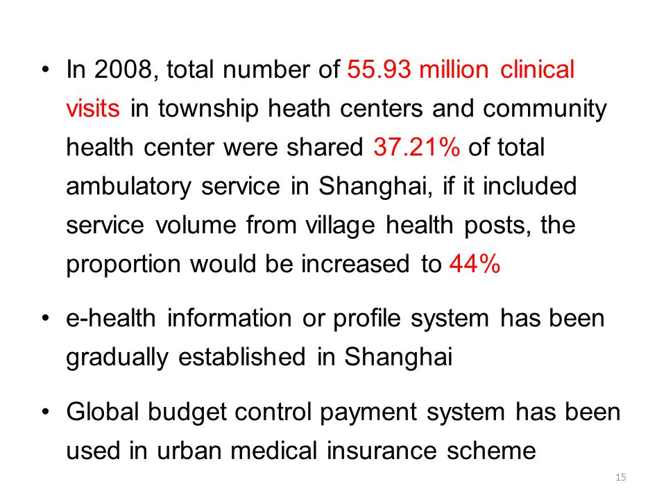 In 2008, total number of 55.93 million clinical visits in township heath centers and community health center were shared 37.21% of total ambulatory service in Shanghai, if it included service volume from village health posts, the proportion would be increased to 44% e-health information or profile system has been gradually established in Shanghai Global budget control payment system has been used in urban medical insurance scheme 15