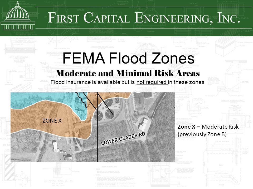 FEMA Flood Zones Moderate and Minimal Risk Areas Flood insurance is available but is not required in these zones Zone X – Moderate Risk (previously Zo